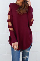 Round Neck  Asymmetric Hem Cutout  Plain T-Shirts