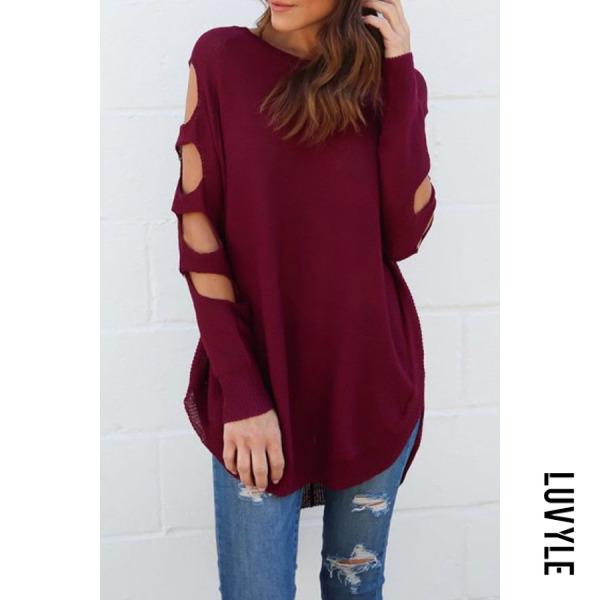 Red Round Neck Asymmetric Hem Cutout Plain T-Shirts Red Round Neck Asymmetric Hem Cutout Plain T-Shirts