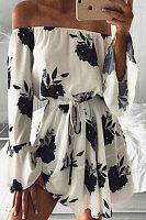 Tie Self Off Shoulder Flowers Print Dress