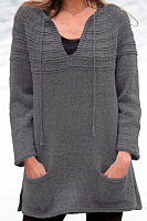 Women's V Neck Pockets Plain Long Sweater