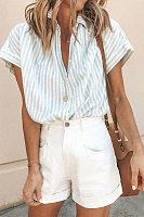 Lapel Stripe Loose Short Sleeve Shirt