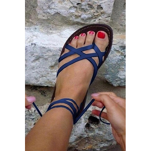 Plain  Flat  Peep Toe  Outdoor Flat Sandals