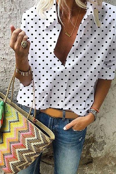 Turn Down Collar Dot Print Women's Shirt