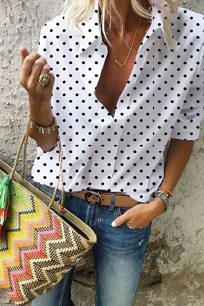 Turn Down Collar  Print  Blouses