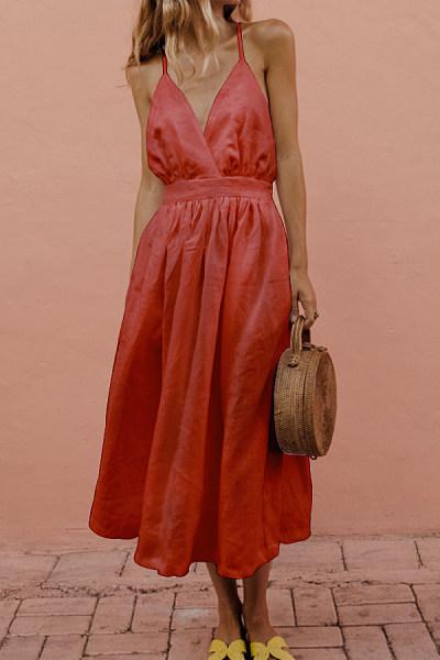 V Neck  Plain  Sleeveless Maxi Dresses