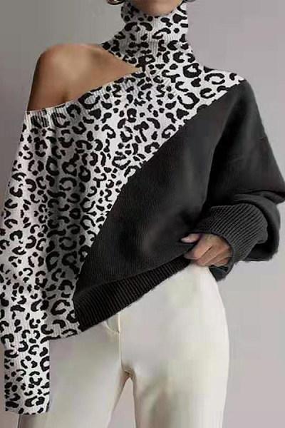 Fashion High Collar Off Shoulder Leopard Splicing Knit Top