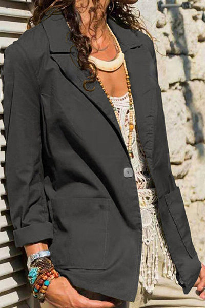 Cotton and linen casual one-button pocket blazer