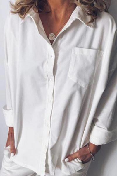 A Lapel Plain Pocket Blouse