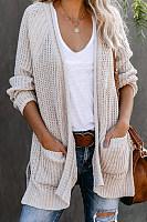 Casual Long Sleeve Plain Cardigan