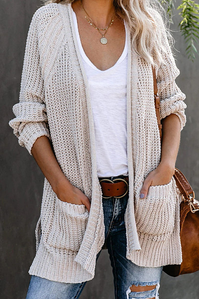 Casual Long Sleeve Plain Cardigan
