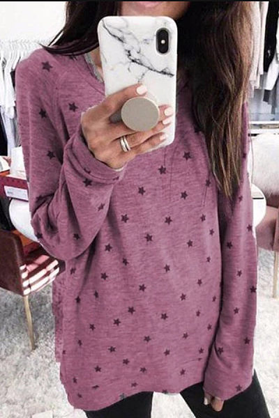 Round Neck Long Sleeve Star T-Shirt