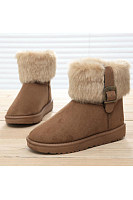 Plain  Flat  Faux Suede  Round Toe  Casual Boots