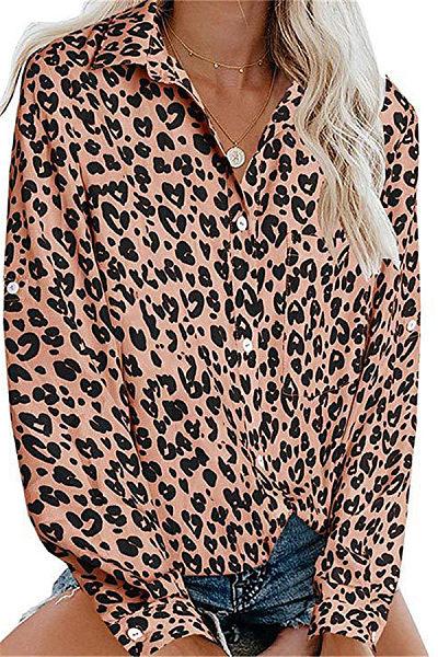 Fashion Turndown Collar Single-breasted Long Sleeve Leopard Print Blouse