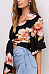 Deep V Neck  Two Way  Floral Printed Blouses