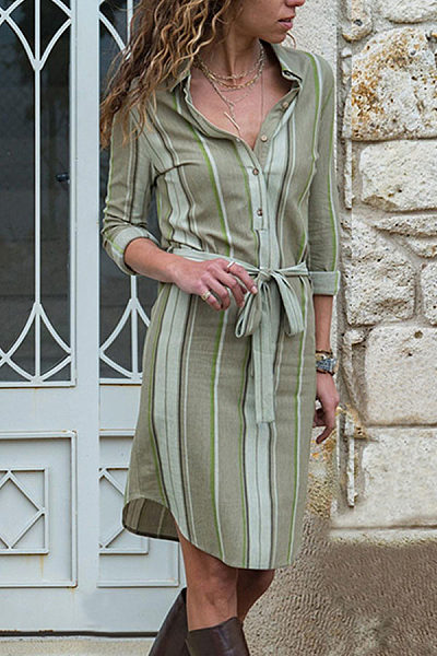 Lapel Stripes Belt Long Sleeve Shift Dresses