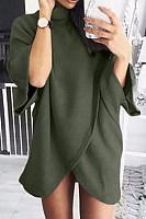 High Neck  Asymmetric Hem  Plain Sweaters