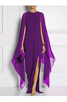 Cape Sleeve High Slit Plain Chiffon Maxi Dress