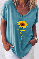 V Neck Short Sleeve Floral Christian T-shirt