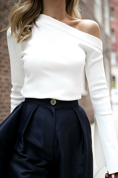 Sexy Off Shoulder Long Sleeve Plain T-Shirt