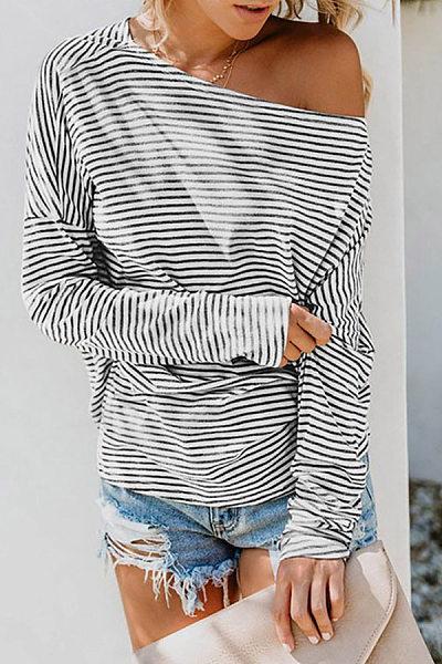 Single Shoulder Collar Batwing Sleeve Striped T-shirt