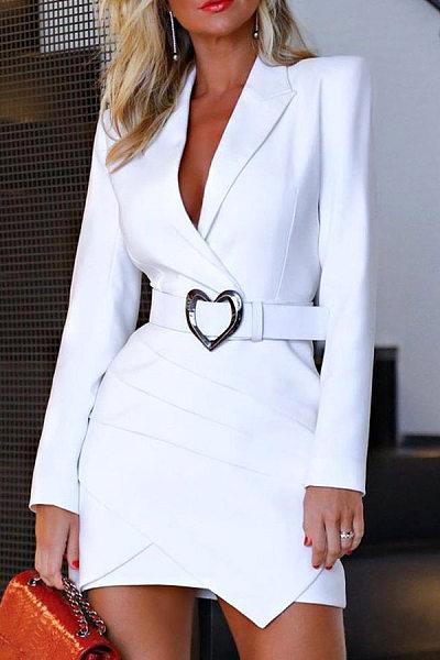 Sexy Deep V Neck Solid Color Belt Dress