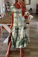 Casual Tie-dye Gradient Short Sleeve Plus Size Dress