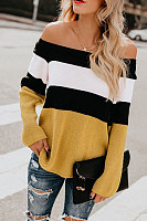 Off Shoulder  Striped Sweaters