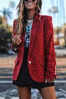 Fashion Leopard Long Sleeve Casual Blazer
