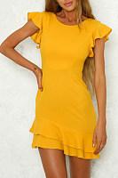 Round Neck  Flounce  Plain  Short Sleeve Casual Dresses