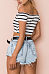 Off Shoulder  Exposed Navel  Striped T-Shirts