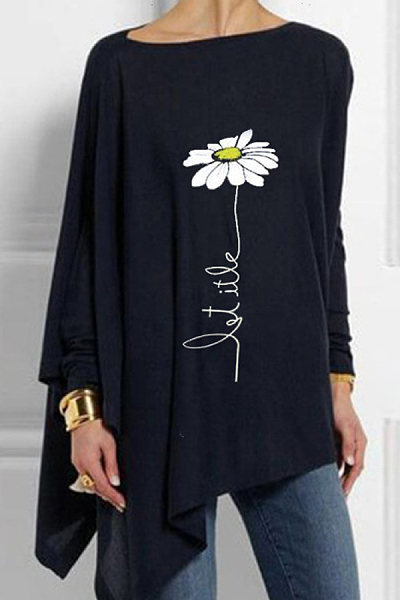 Round Neck Loose-Fitting Floral T-shirt