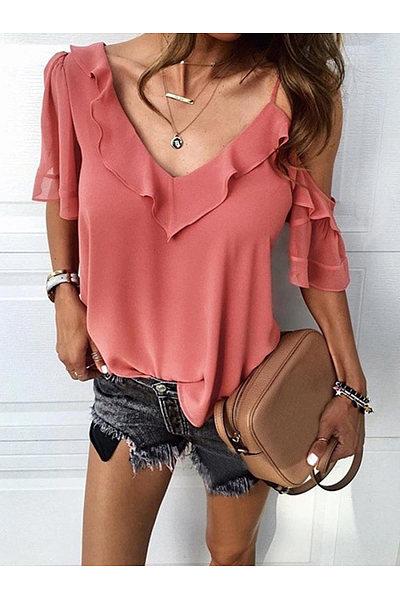 Sexy Solid Color Irregular Flounces Sling Shirt