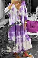 Plus Size Tie-dye Printed  Neck Maxi  Dress