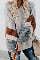 V Neck Striped Lantern Sleeve Sweater