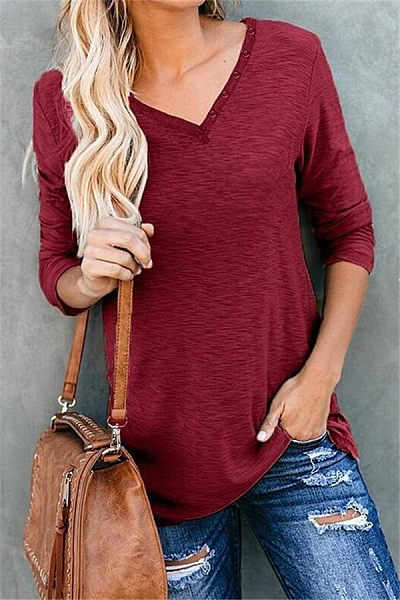 Casual V Neck Decorative Buttons Long Sleeve T-shirt