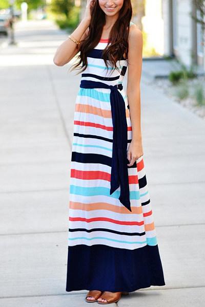 Round Neck  Belt  Striped  Sleeveless Maxi Dresses