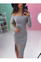 Off Shoulder  Slit  Plain  Long Sleeve Bodycon Dresses