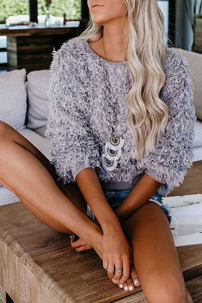 Casual Round Neck Long Sleeve Pure Colour Sweaters