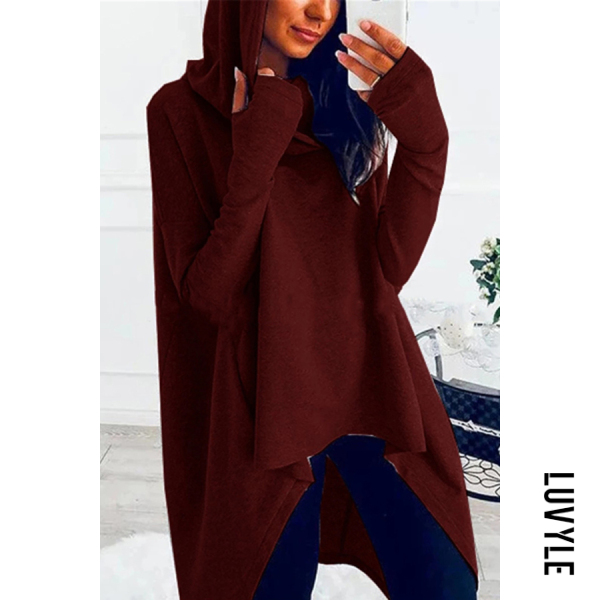 Claret Loose And Irregular Hem Hoodie Claret Loose And Irregular Hem Hoodie