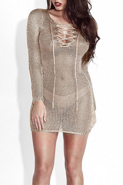 V Neck  Lace Up See Through  Plain Party Dresses