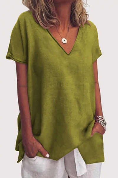 Solid Color V-Neck Short-Sleeved T-Shirt