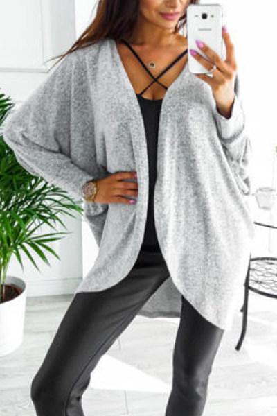Asymmetric Neck  Snap Front  Plain Cardigans