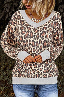 Casual Leopard Print V-Neck Sweatshirt