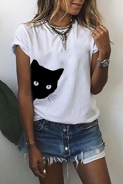 Casual Round Neck Print Short Sleeve Ladies T-Shirt
