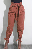 Begged Plain Pants With Belt