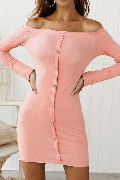 Long Sleeve Off Shoulder Plain Bodycon Dresses