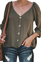 V Neck  Loose Fitting Single Breasted  Plain Blouses