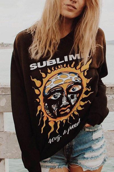 Women's Vintage Sun Print Long Sleeve Sweatshirt