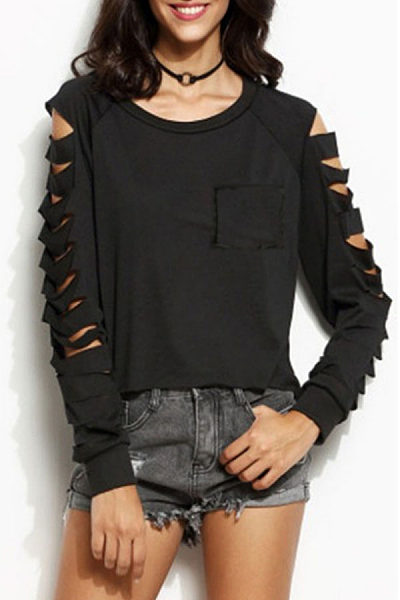 Round Neck  Cutout Patch Pocket  Plain T-Shirts