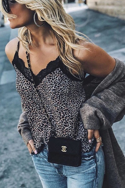Spaghetti Strap  Animal Printed Patchwork Camis